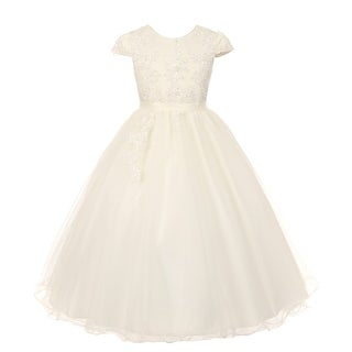 Rainkids Little Girls Ivory Pearl Sequin Tulle Communion Flower Girl Dress 4-6