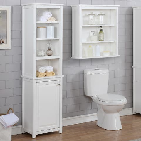 Porch & Den Everest Bathroom Storage Tower with Open Upper Shelves and Lower Cabinet