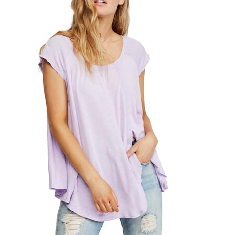 Free People Womens Top Lilac Purple Size XS Tunic Scoop Neck Slit