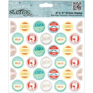 "Papermania Happy Days Cling Urban Stamps 6""X6""-Bottle Caps"