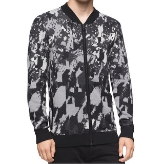 Calvin Klein NEW Black Mens Large L Abstract-Print Full Zip Jacket