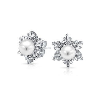 Bling Jewelry Imitation Pearl Winter Snowflake CZ Stud earrings Rhodium Plated 17mm - White