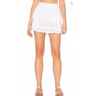 Free People NEW White Womens Size 8 Embroiered Hem Pleated Shorts