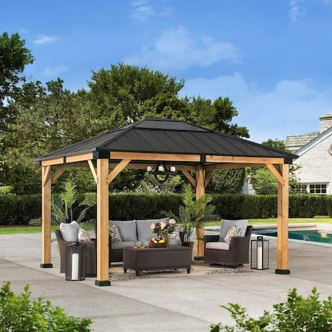 Sunjoy Cedar Framed Gazebo with Brown Steel and PB Hip Roof Hardtop