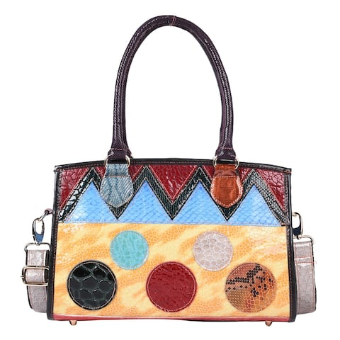 CHAOS BY ELSIE Multi Color Genuine Leather Convertible Tote Bag - 12.2x4x9 inches