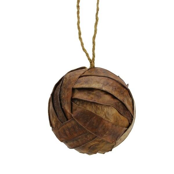 """3.75"""" Modern Lodge Rattan Ball Shaped Christmas Ornament - brown"""