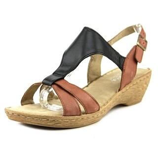 Bella Vita Gubbio Women WW Open Toe Leather Black Wedge Sandal