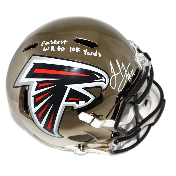 81c41a52b6c Shop Julio Jones Autographed Atlanta Falcons Chrome Replica Helmet Insc JSA  - Free Shipping Today - Overstock - 25684676