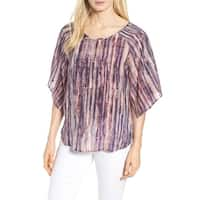 Nic + Zoe Purple Women's Size Small S Abstract Print Blouse Silk