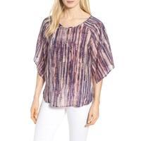 Nic + Zoe Purple Womens Size Small S Kimono-Sleeve Printed Blouse