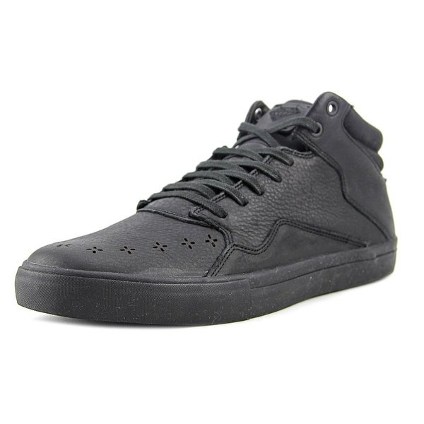 Diamond Supply Co Folk Mid Men Round Toe Leather Black Sneakers
