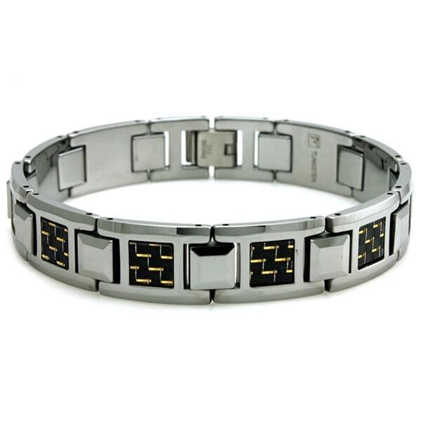 Tungsten Gold & Black Carbon Fiber Inlay Link Bracelet - 8 inches