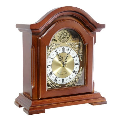 Bedford Clock Collection Decorative Mantel clock with Chime in Redwood