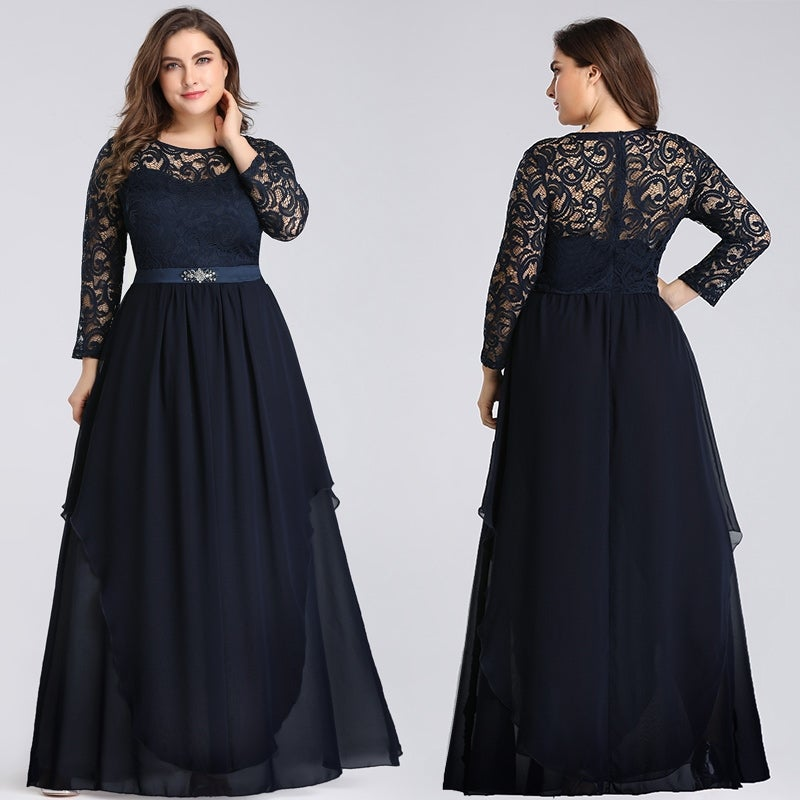 Ever-Pretty Women Plus Size Chiffon Long Sleeve Formal Evening Dresses 77162