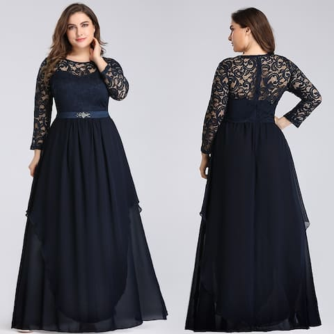 Ever-Pretty Women Plus Size Chiffon Long Sleeve Formal Evening Dresses 77162