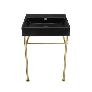 Link to Claire 24 Ceramic Console Sink Matte Black Basin Gold Legs Similar Items in Sinks