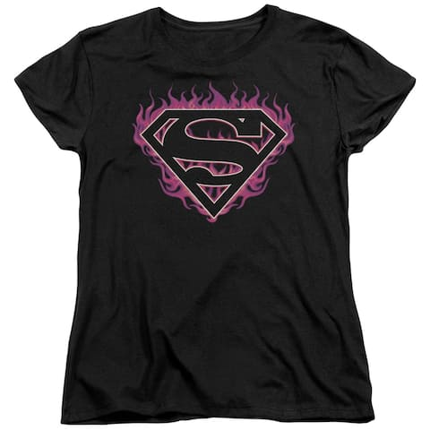 Superman Fuchsia Flames Womens Short Sleeve Shirt