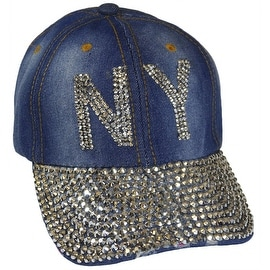 NY New York Sparkling Bedazzled Studded Baseball Cap Hat, Denim, Light Blue