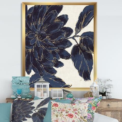 Designart 'Indigo Gold Metallic Flower' Traditional Framed Art Print