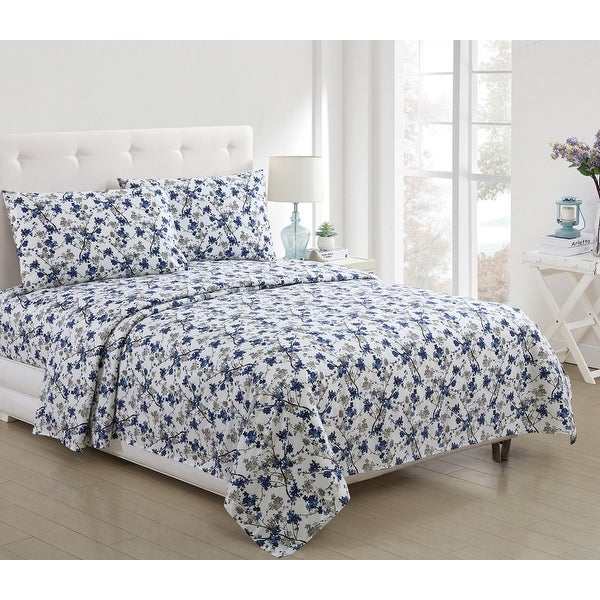 Jasmine Floral Printed 3-Piece and 4-Piece Sheet Set, Blue