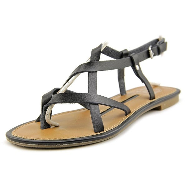 New Directions Juliana Women Open-Toe Leather Black Slingback Sandal