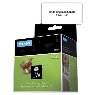 Dymo LabelWriter 400 Turbo Paper Rectangle Permanent Self-Adhesive Shipping Label, 2-1/8 X 4 in, White, Pack of 220