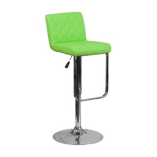 Offex Contemporary Green Vinyl Adjustable Height Barstool with Chrome Base