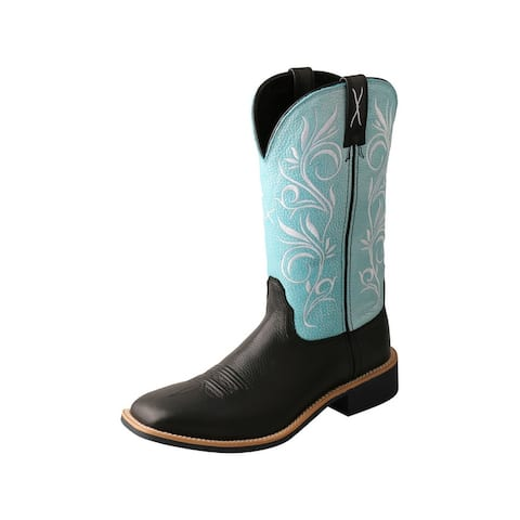 Twisted X Western Boots Womens 11 Top Hand Black Blue - Black Baby Blue