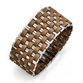 Chisel Stainless Steel Polished Woven Brown Leather Bracelet - Thumbnail 0