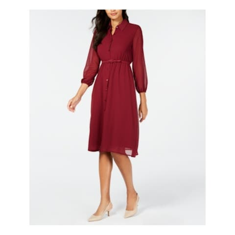 ALFANI Burgundy Long Sleeve Midi Shirt Dress Dress Size 14