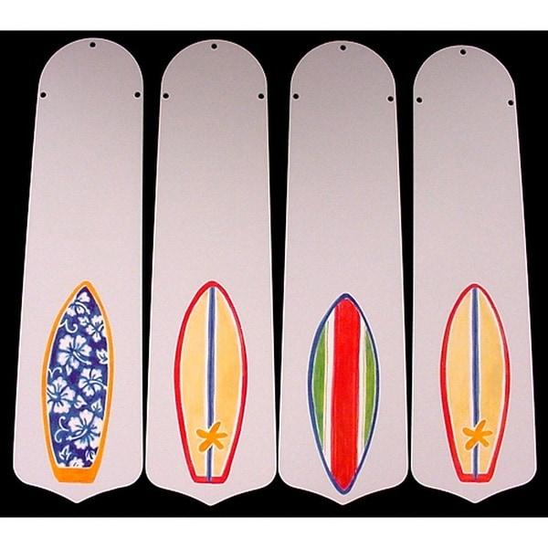 Surfboard Custom Designer 42in Ceiling Fan Blades Set - Multi