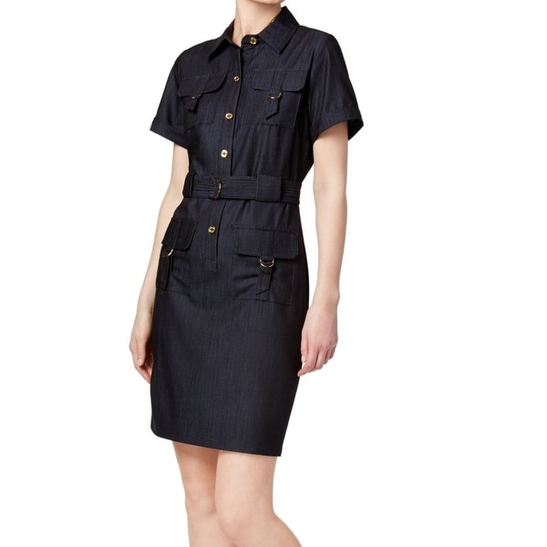 67f2ea9c36d5e Shop Calvin Klein Denim Blue Womens Size 4 Belted Utility Shirt Dress - Free  Shipping On Orders Over  45 - Overstock - 21657651