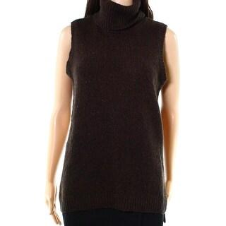 Lauren By Ralph Lauren NEW Brown Women Large L Vest Sleeveless Sweater