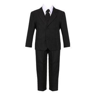Boys Black 5 Piece Classic Vest Jacket Pants Special Occasion Suit