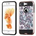 Insten Purple/ White European Flowers Hard PC/ Silicone Dual Layer Hybrid Rubberized Matte Case Cover For Apple iPhone 7 Plus - Thumbnail 0