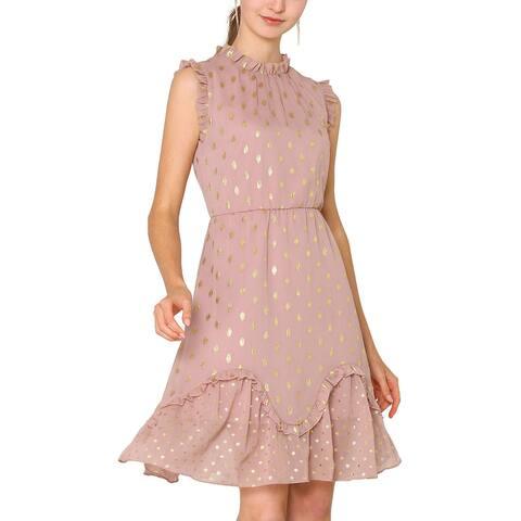 Women High Neck Sleeveless Metallic Print Ruffle Cocktail Party Dress