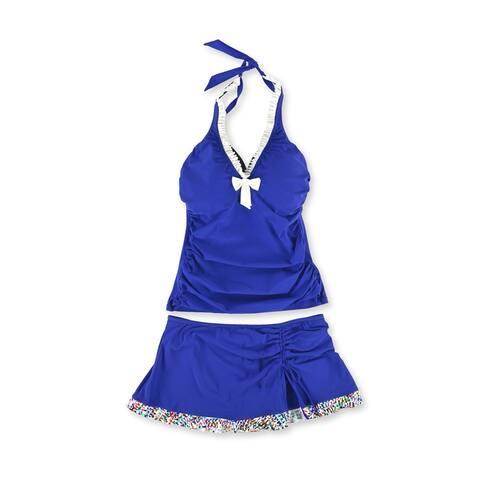 Profile Womens Trimmed Ruffle Skirt 2 Piece Tankini, Blue, 36D