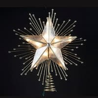 "9"" Lighted Capiz Star with Beaded Sunbursts Christmas Tree Topper- Clear Lights - Gold"