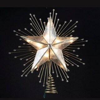 """9"""" Lighted Capiz Star with Beaded Sunbursts Christmas Tree Topper- Clear Lights - Gold"""