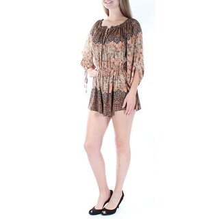 FREE PEOPLE Womens Brown Tie Floral 3/4 Sleeve Keyhole Romper Size: XS