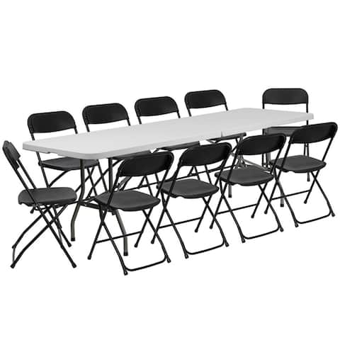 Offex 8' Bi-Fold Granite White Plastic Event Training Folding Table Set with 10 Folding Chairs