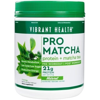 Vibrant Health Pro Matcha Natural Powder 525.4g - 15 servings - Whole Food Protein - Matcha Tea - Pre or Post Workout