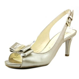 Anne Klein Stephania Women Open-Toe Leather Slingback Heel
