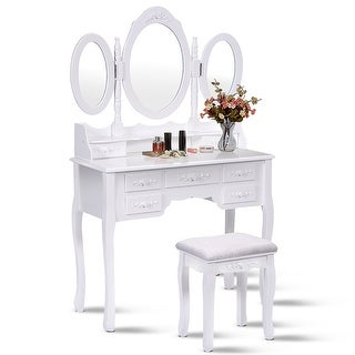 Costway White Tri-Folding Oval Mirror Wood Vanity Makeup Table Set with Stool