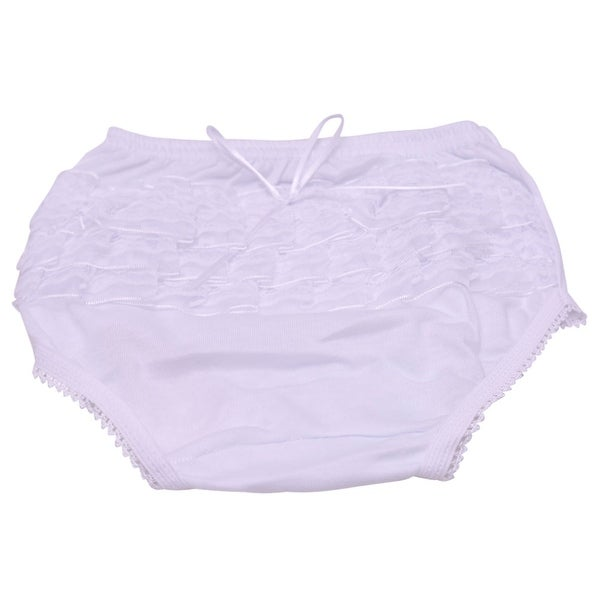 Piccolo Baby Girls White Lace Ruffle Detail Scallop Trim Underwear 12M