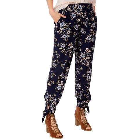 Maison Jules Womens Floral-Print Ankle-Tie Harem Casual Pants