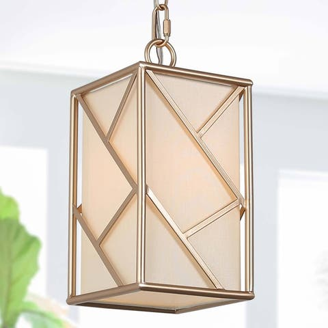 """Modern Gold Lantern Pendant Lights with Fabric Shade for Dining Room - 5"""" L x 5"""" W x 10.5"""" H"""