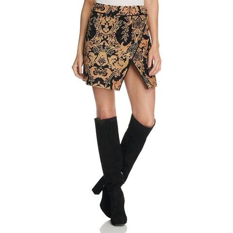 Free People Winter Warrior Brocade Mini Skirt Black Combo