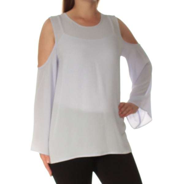 9fda48db2d9c8 Shop VINCE CAMUTO Womens Blue Cold Shoulder Bell Sleeve Jewel Neck Top  Size  M - Free Shipping On Orders Over  45 - - 22644439