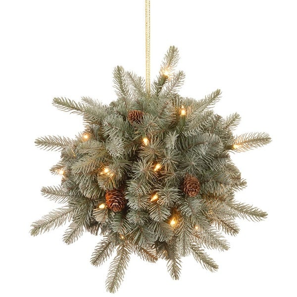 """12"""" Arctic Spruce Kissing Ball with Cones and Warm White LED Lights - N/A"""